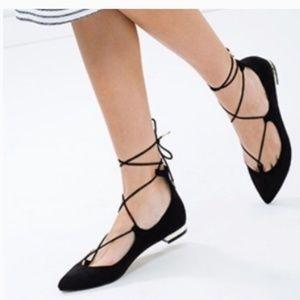 Steve Madden Black Pointed Toe Strap Ankle Flats